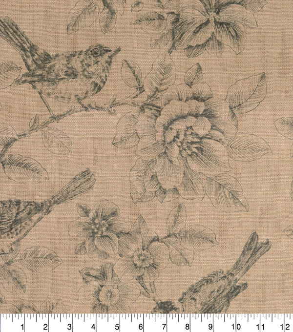 P/K Lifestyles Upholstery Fabric 54\u0027\u0027-Graphite Garden Illustration