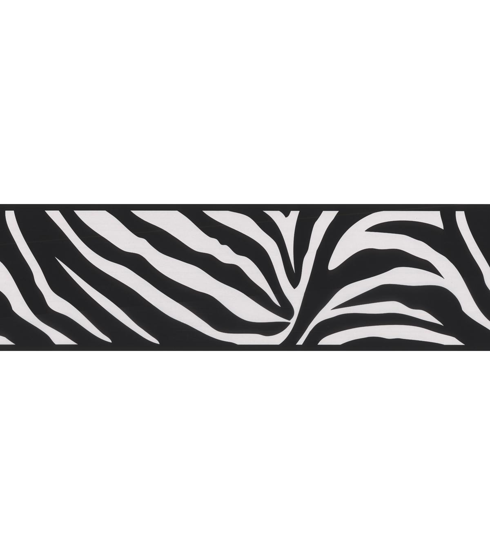 Zebra Crossing Black Wallpaper Border