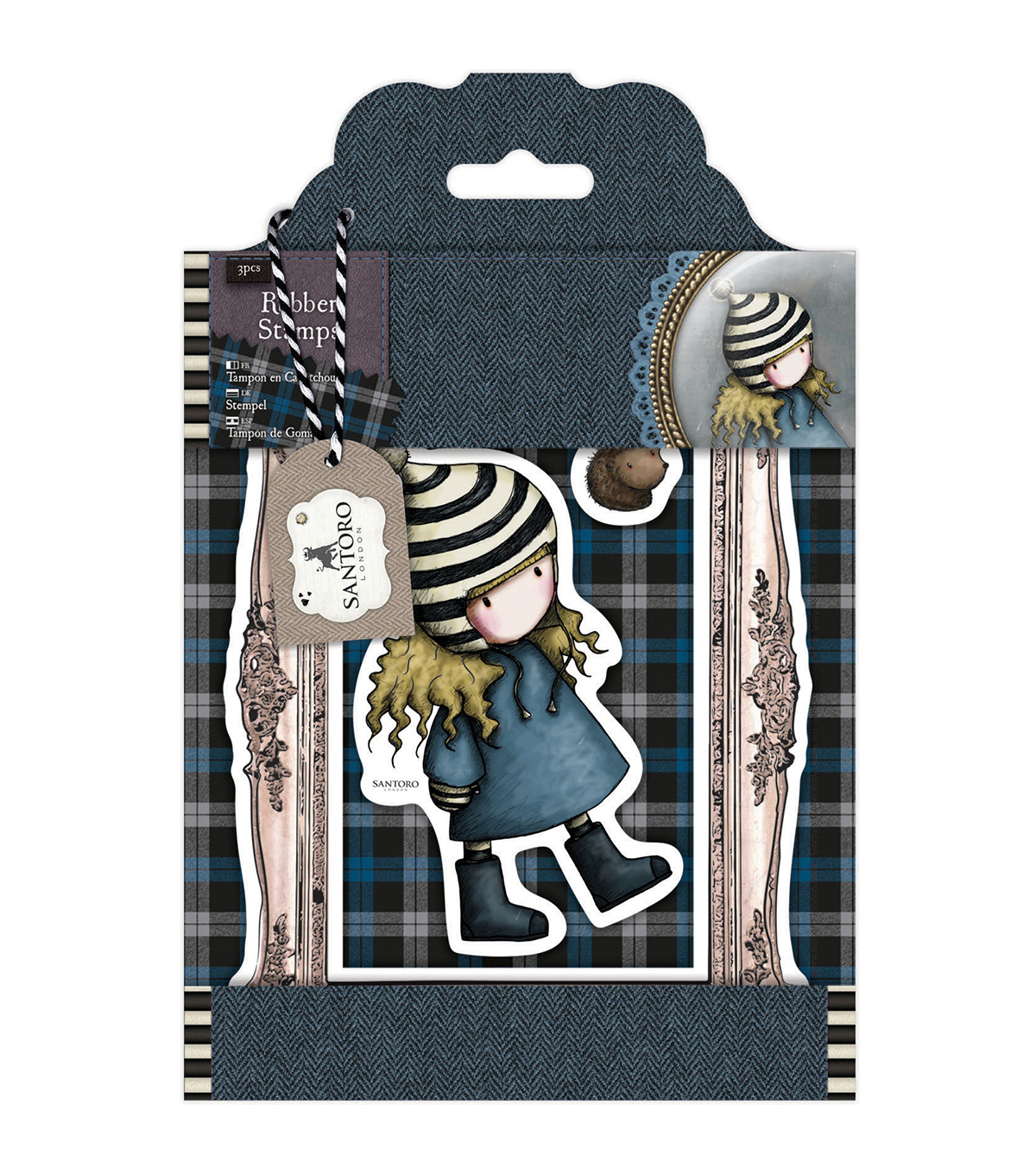 Santoro Gorjuss Tweed Rubber Stamps-The Friendly Hedgehog