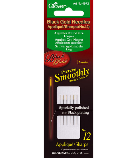 Black Gold Applique/Sharps Needles-Size 12 6/Pkg