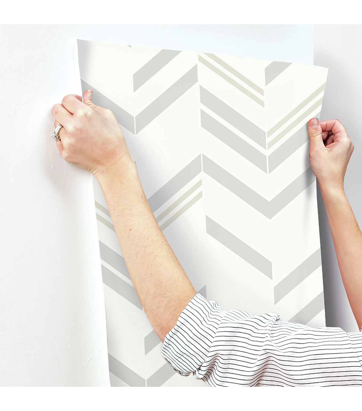 York Wallcoverings Wallpaper-Grey Chevron Stripe