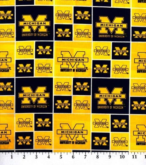 University Of Michigan Wolverines Cotton Fabric Block