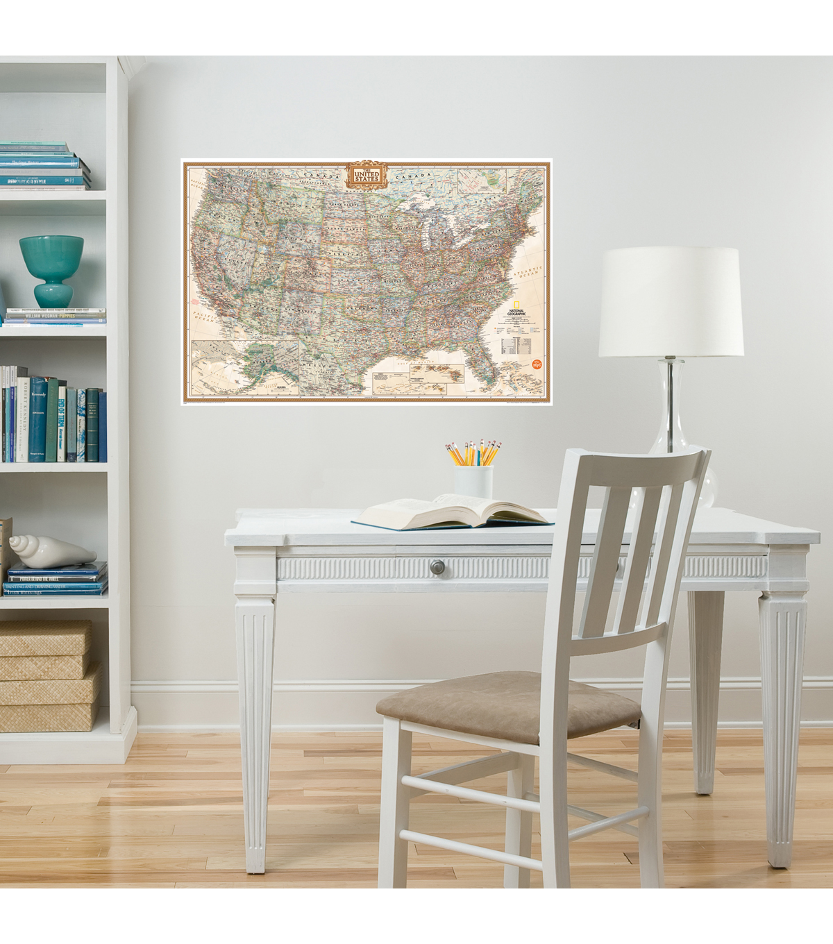Wall Pops National Geographic Dry Erase USA Map Decal, 24\u0022 x 36\u0022