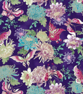 Asian Inspired Cotton Fabric 43 Metallic Butterfly