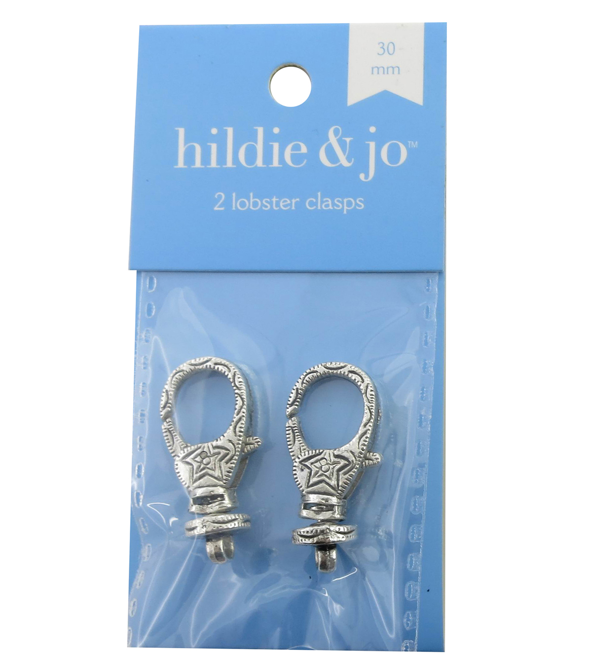 hildie & jo 2 Pack 30mm Silver Decorative Lobster Clasps