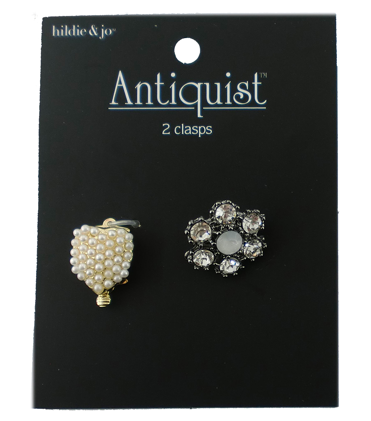 hildie & jo Antiquist Heart & Flower Clasps-Pearls & Crystals