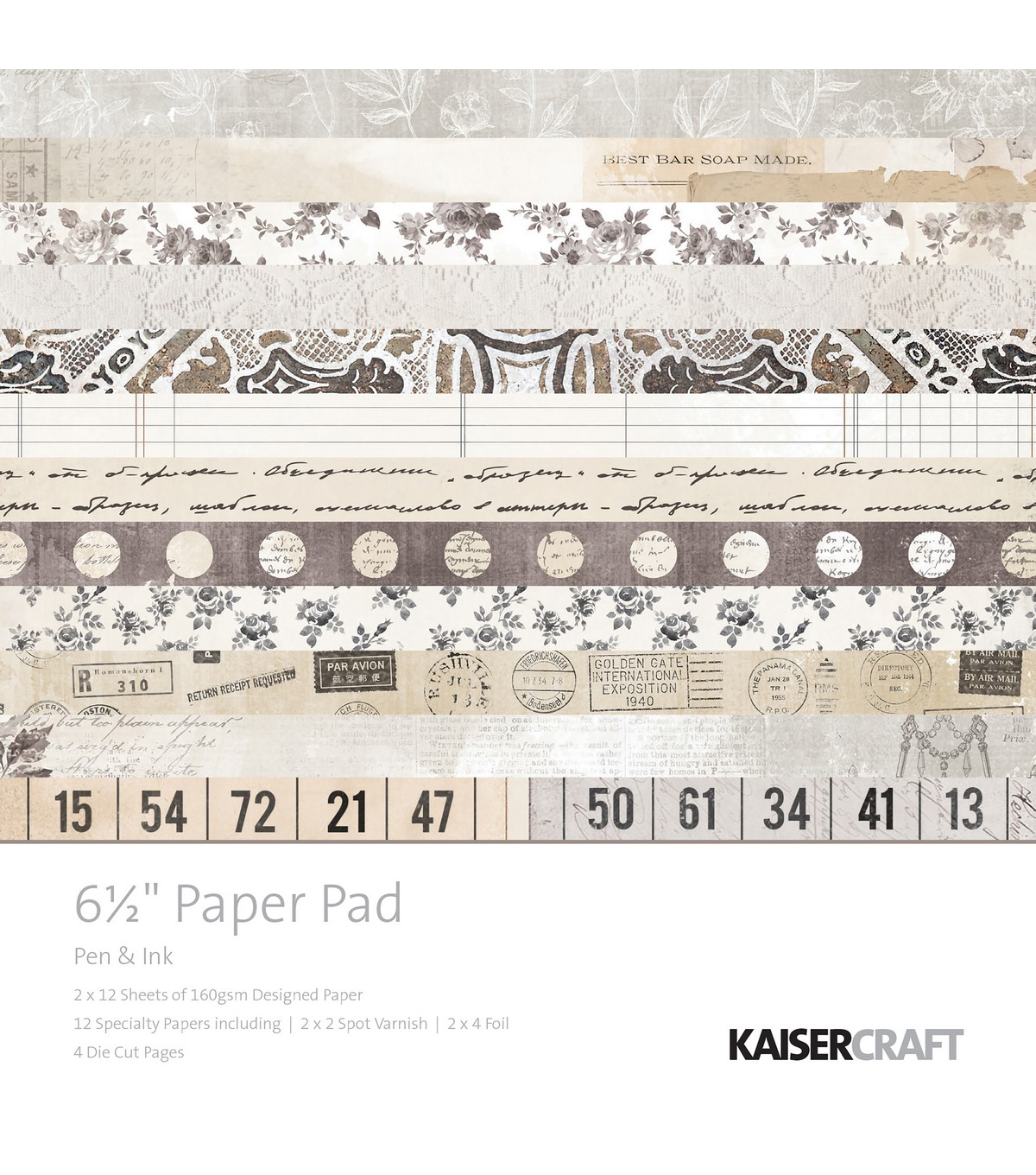 Kaisercraft 40 sheets 6.5\u0027\u0027x6.5\u0027\u0027 Paper Pad-Pen & Ink