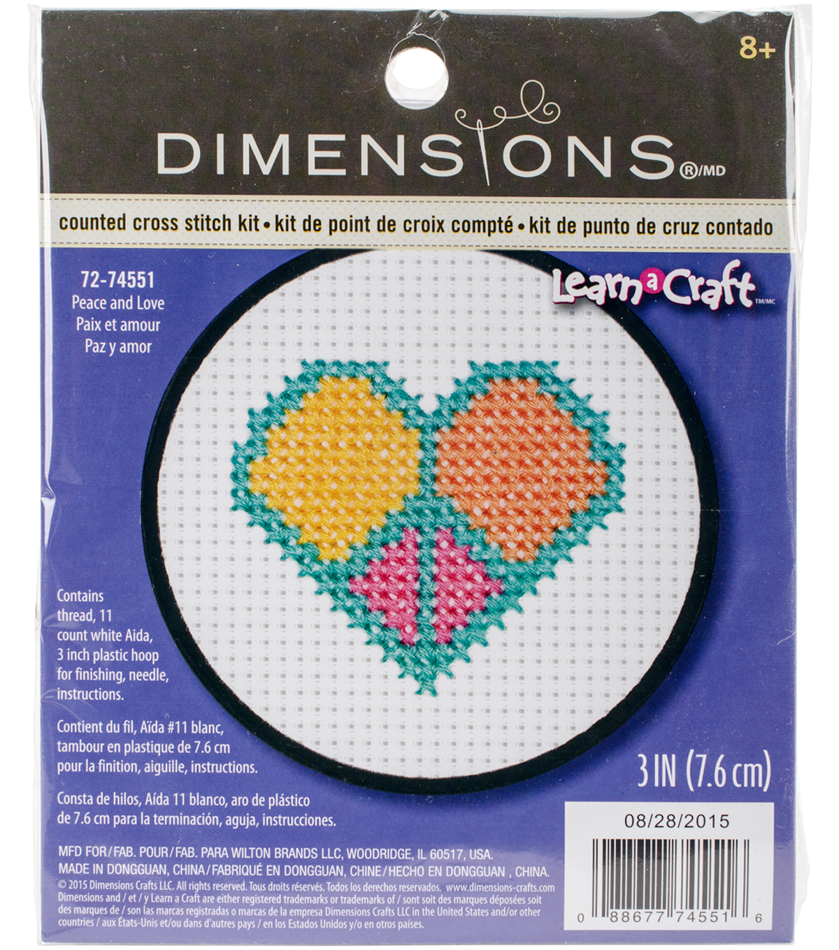 Dimensions Learn-A-Craft 3\u0027\u0027 Round Counted Cross Stitch Kit-Peace & Love