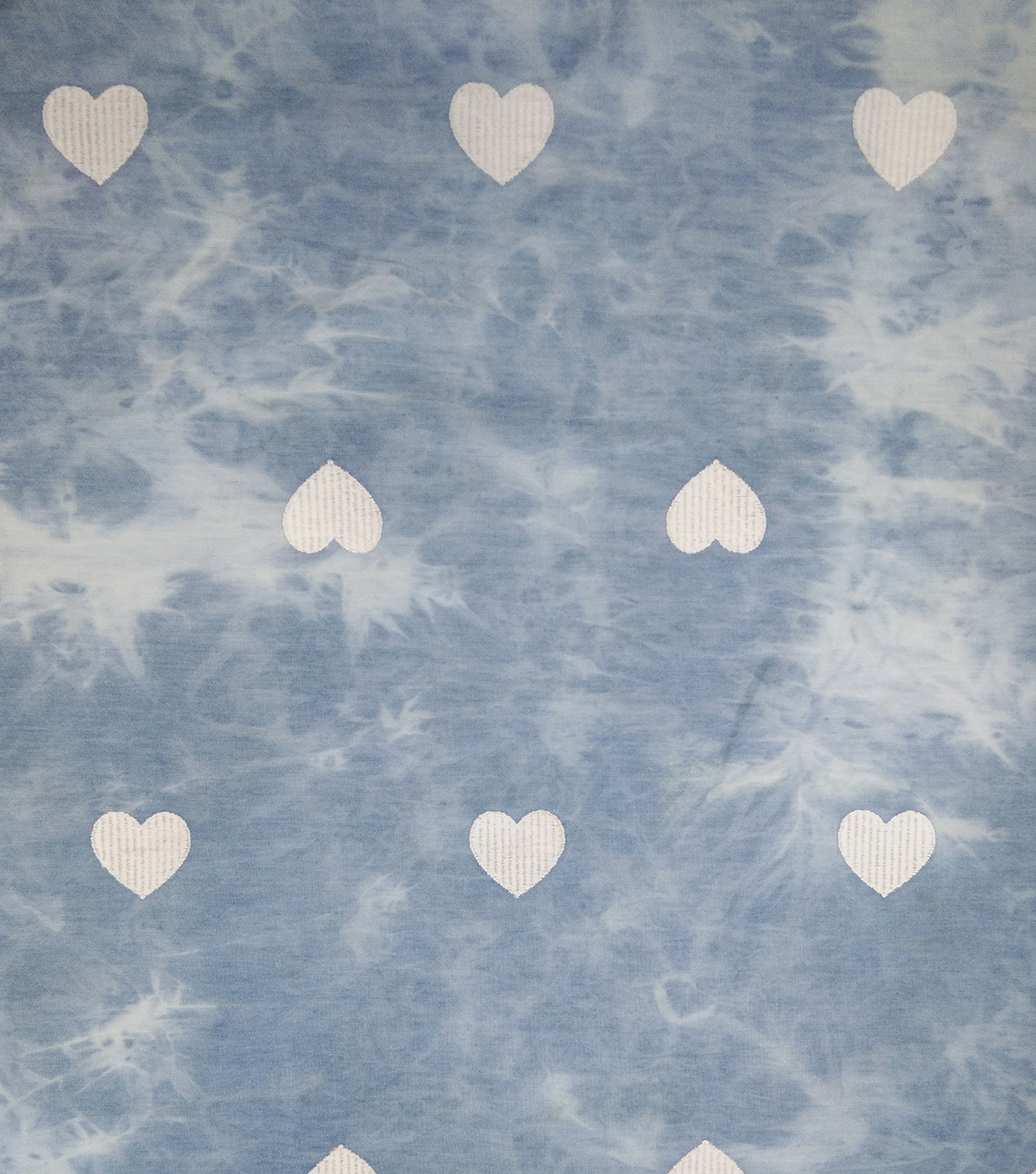 Demim Medium Wash Cotton Fabric-Embroidery Heart Tie Dye