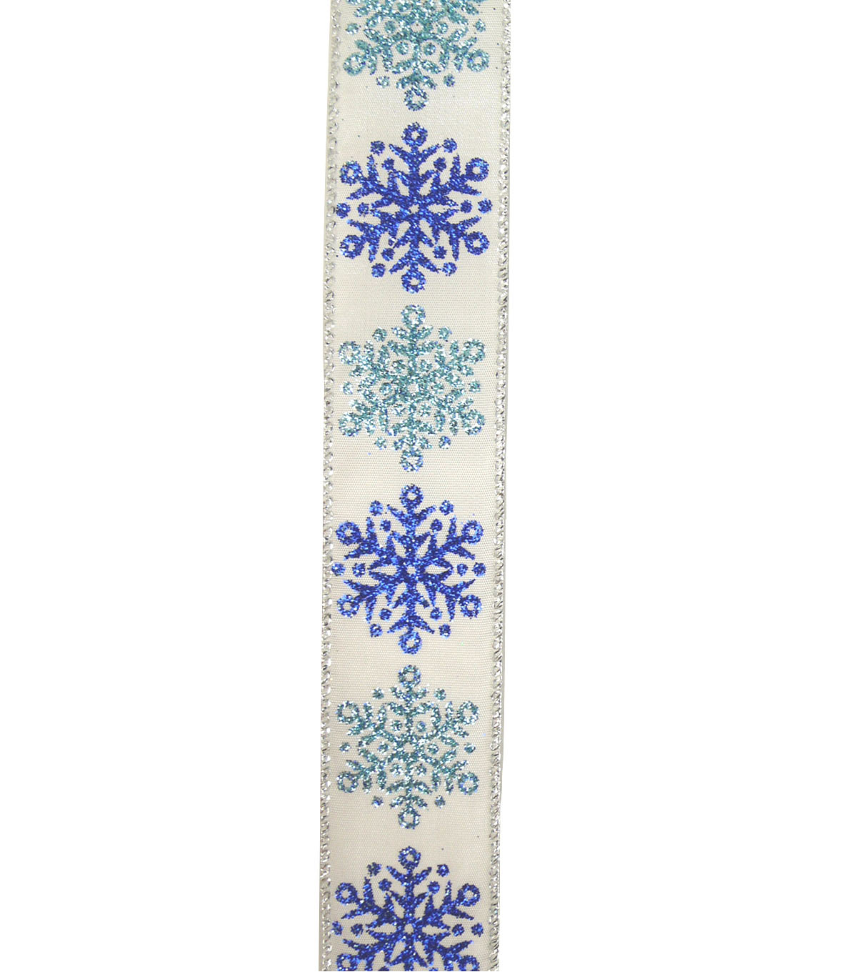 Maker\u0027s Holiday Ribbon 1.5\u0027\u0027x30\u0027-Blue Glitter Snowflakes on White