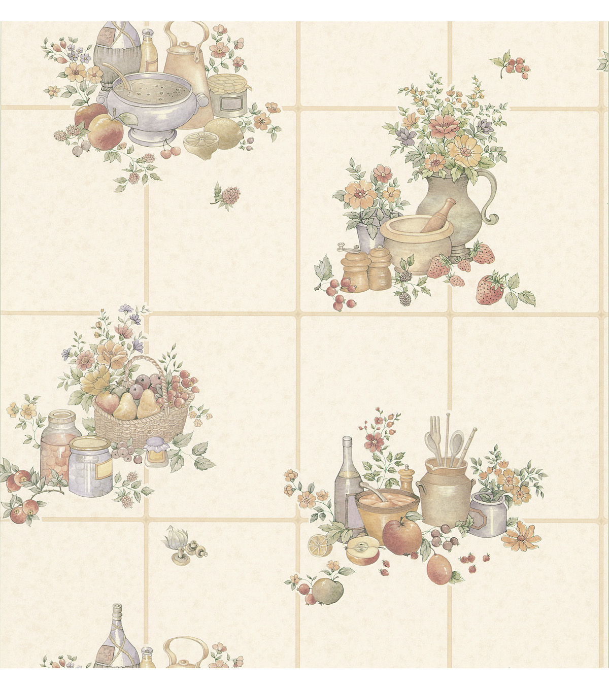 Picnic Floral  Beige Kitchen Tiles Wallpaper