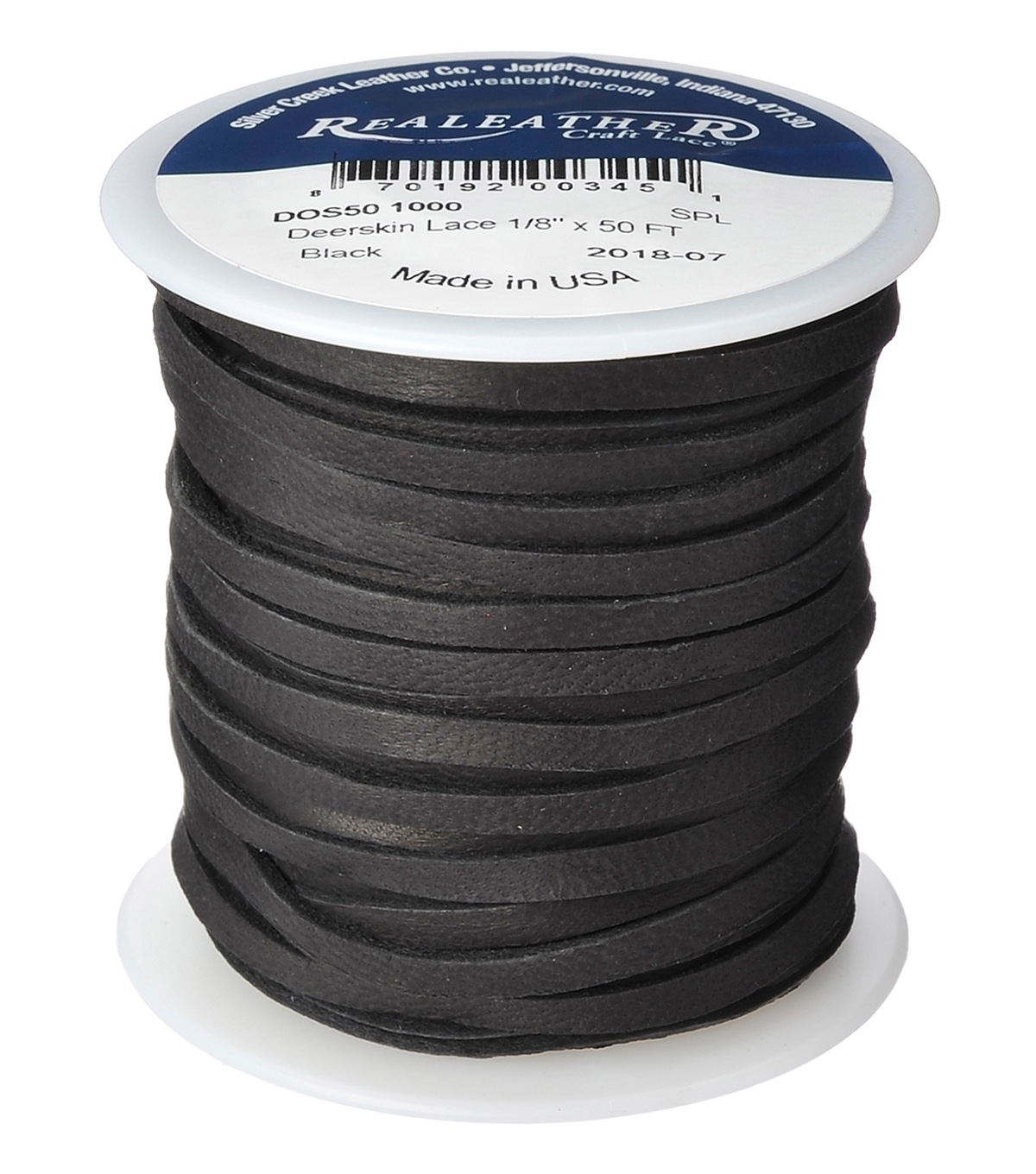 Realeather Crafts Leather Lace 50\u0027 Spool-Black