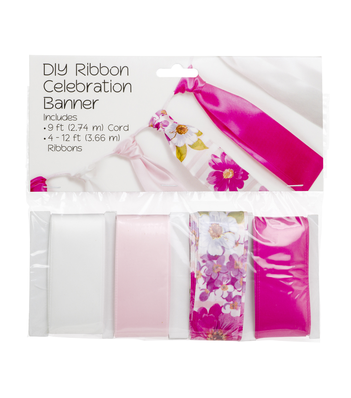 Offray DIY Ribbon Celebration Banner Kit-Feminine Floral