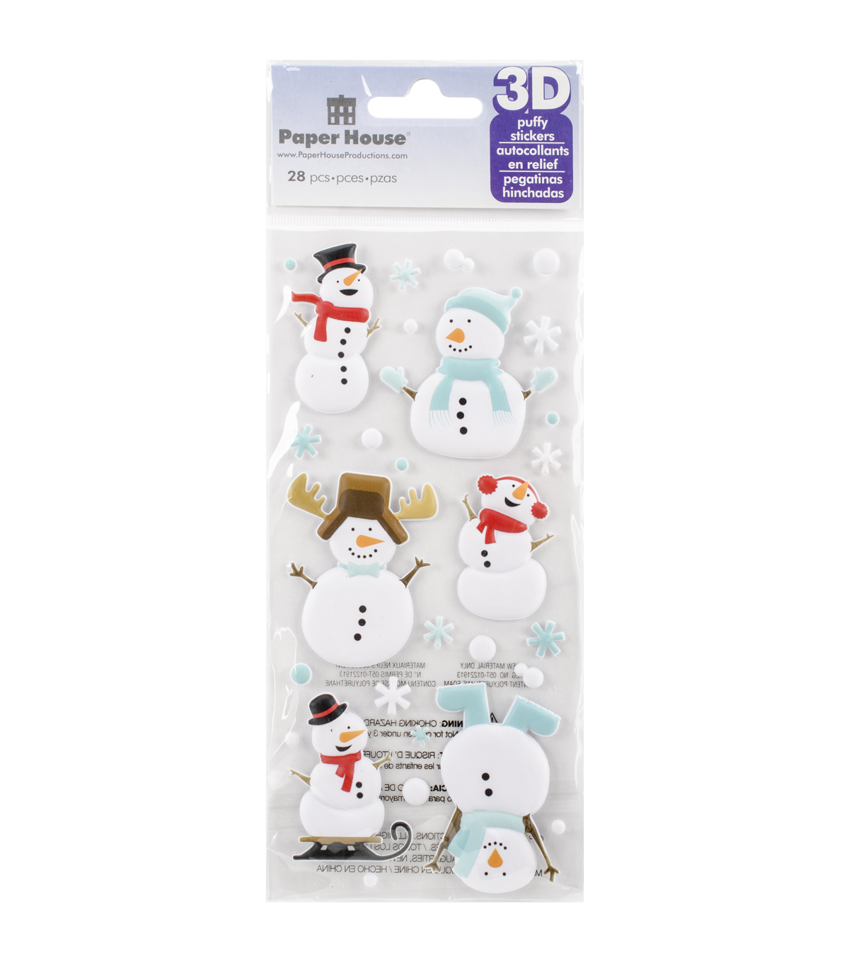 Paper House Puffy Stickers-Snowman