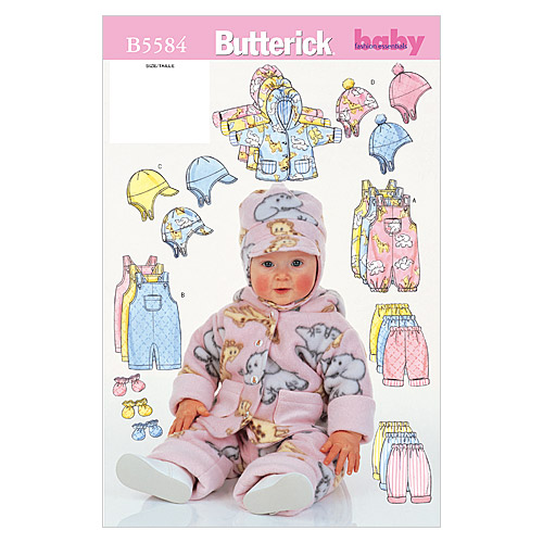 Butterick Pattern B5584 Infants\u0027 Casual Outfits-Size NB-S-M