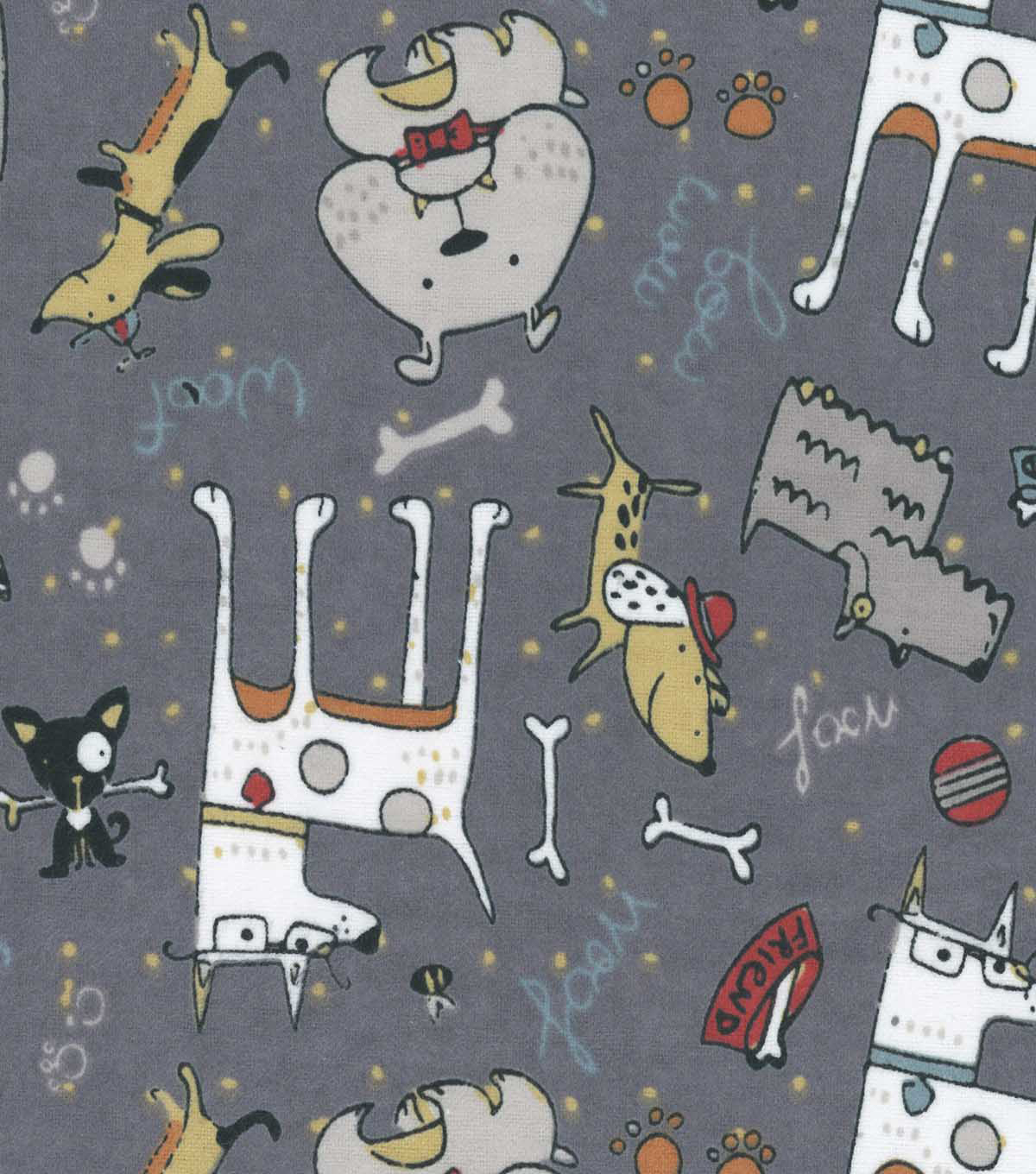 Snuggle Flannel Fabric -Pups on Gray