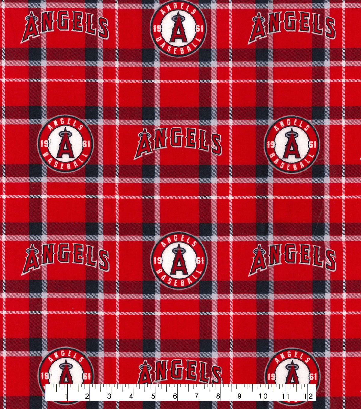 Los Angeles Angels Flannel Fabric 42\u0022-Plaid