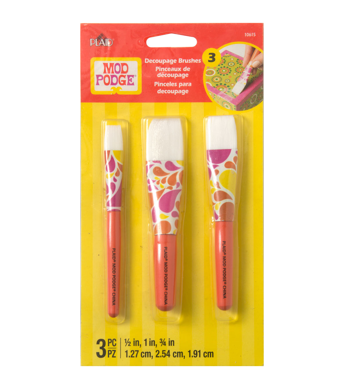 Mod Podge Short Handle 3 Pack Brush Set