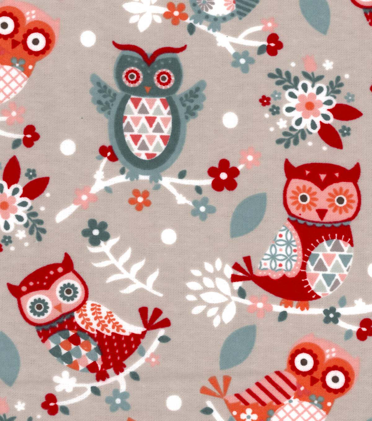 Snuggle Flannel Fabric-Floral Owl With Geo