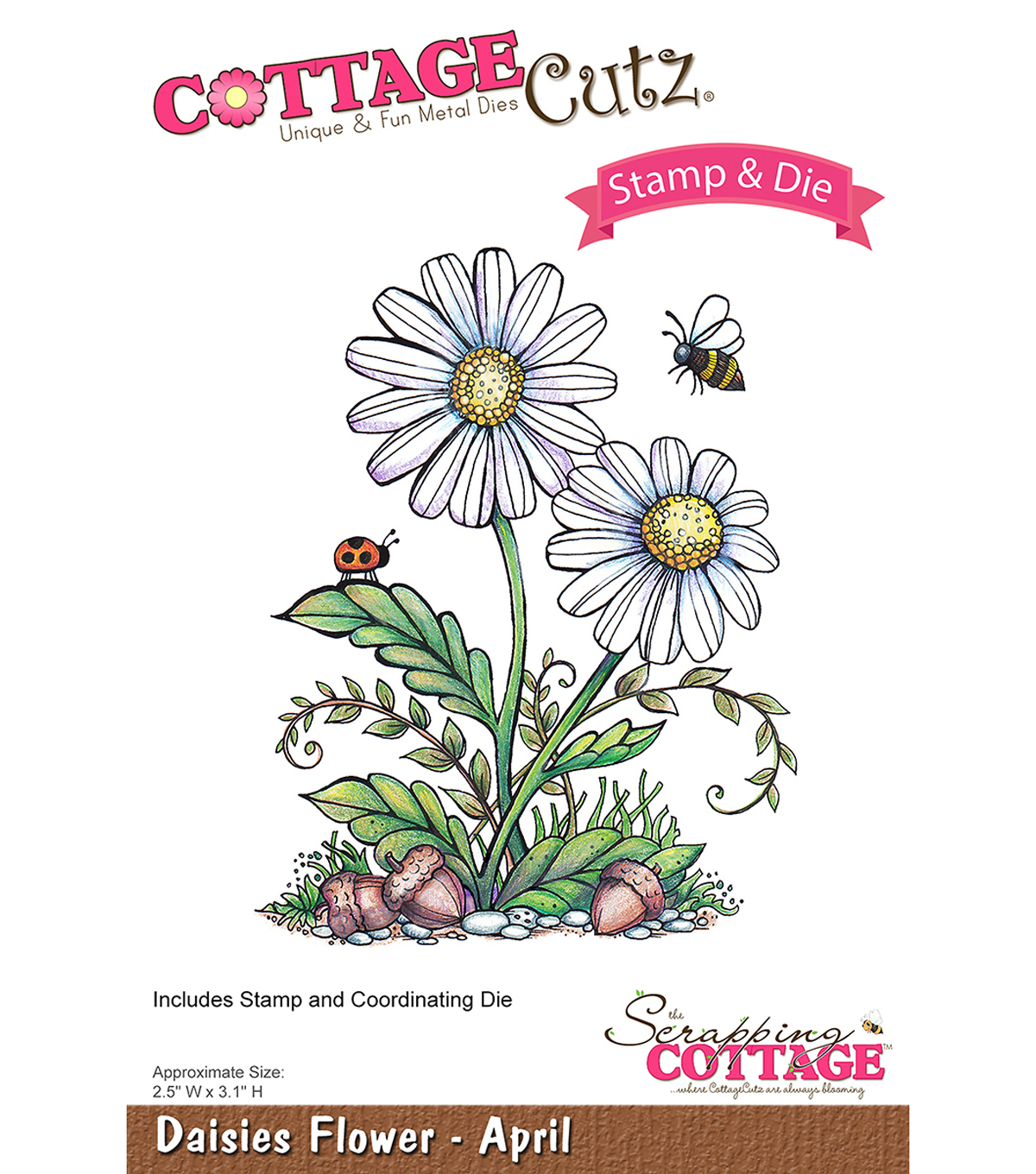CottageCutz Stamp & Die Set-Daisies-April