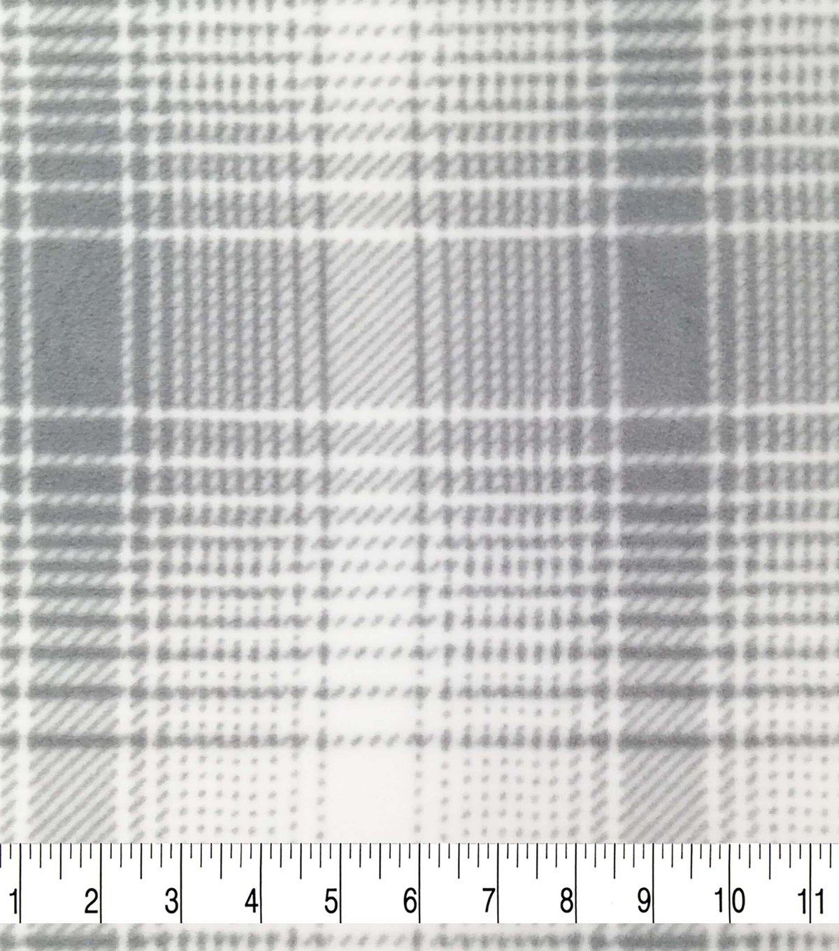 Specialty Fleece Fabric-White Mica & Gray Plaid