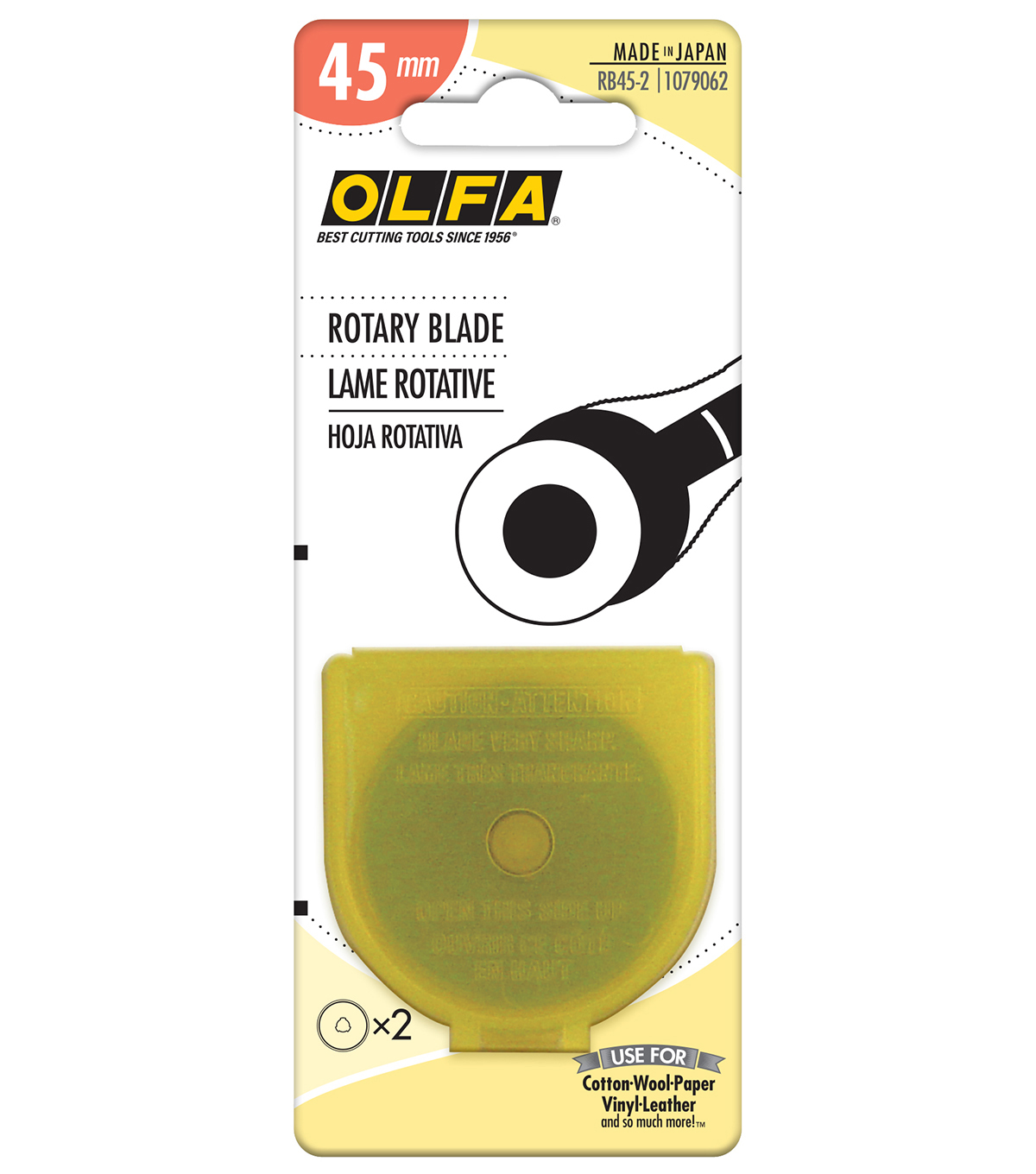 Olfa 45mm 2pk Straight Rotary Blade