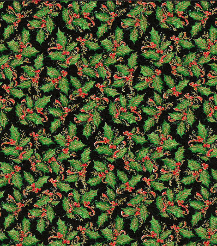 Christmas Cotton Fabric-Holly on Black