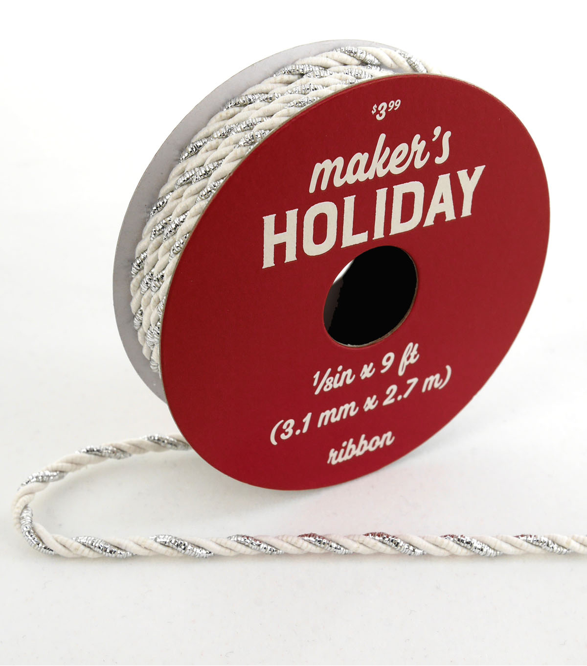 Maker\u0027s Holiday Christmas Metallic Twist Ribbon 1/8\u0027\u0027x9\u0027-White & Silver