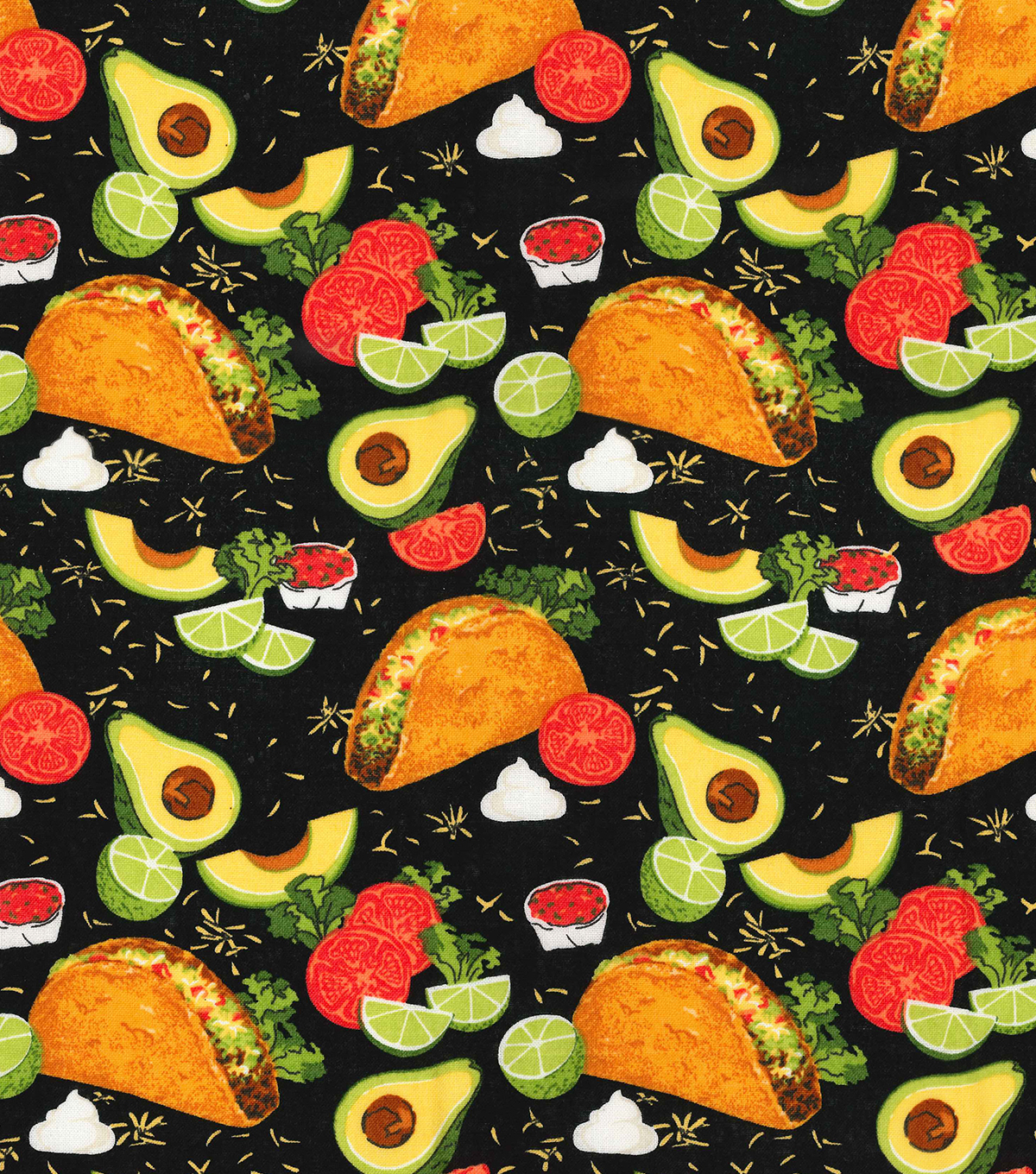 Novelty Cotton Fabric 44\u0022-Tacos On Black
