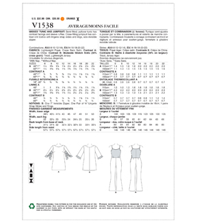 Vogue Pattern V1538 Misses\u0027 Tunic & Bootcut Jumpsuit-Size 6-8-10-12-14
