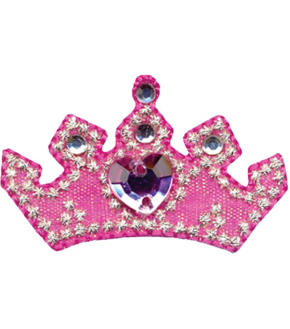 Wrights Iron-On Applique-Pink Crown 1-3/4\u0022X1\u0022 1/Pkg