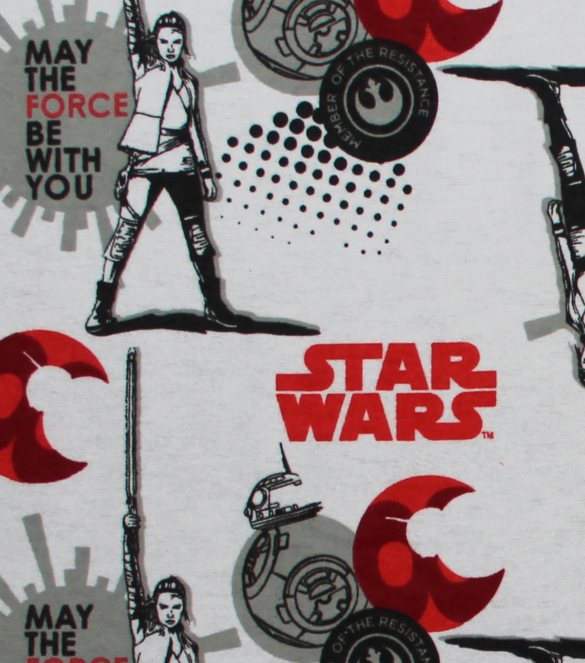 Star Wars: The Last Jedi Flannel Fabric 42\u0022-Red & BB8