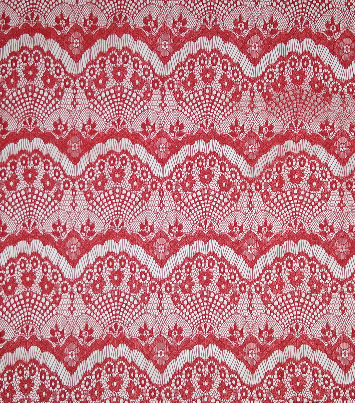 Casa Collection Eyelash Lace Fabric 56\u0022, Tango Red