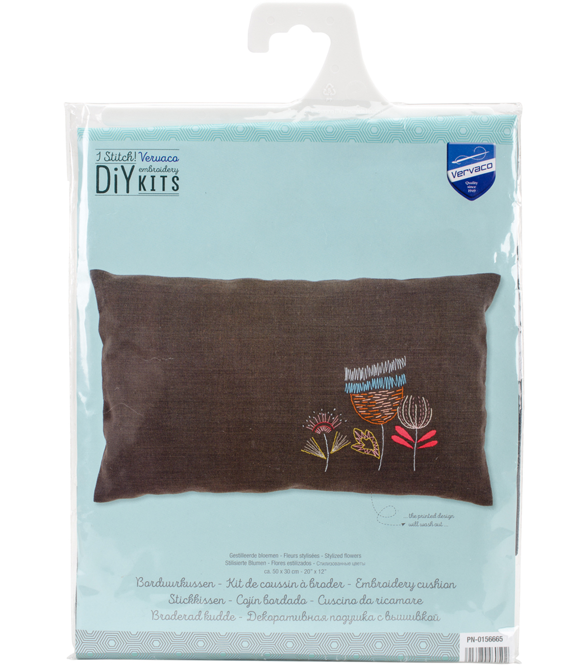 Vervaco 20 X12 Stamped Embroidery Cushion Kit Stylized Flowers Ii