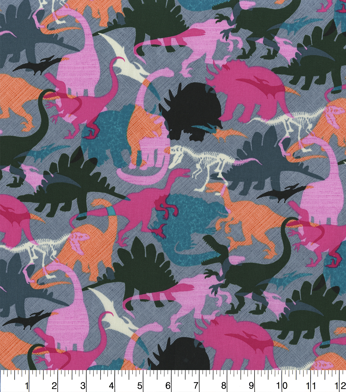Novelty Cotton Fabric-Girl Dinosaurs