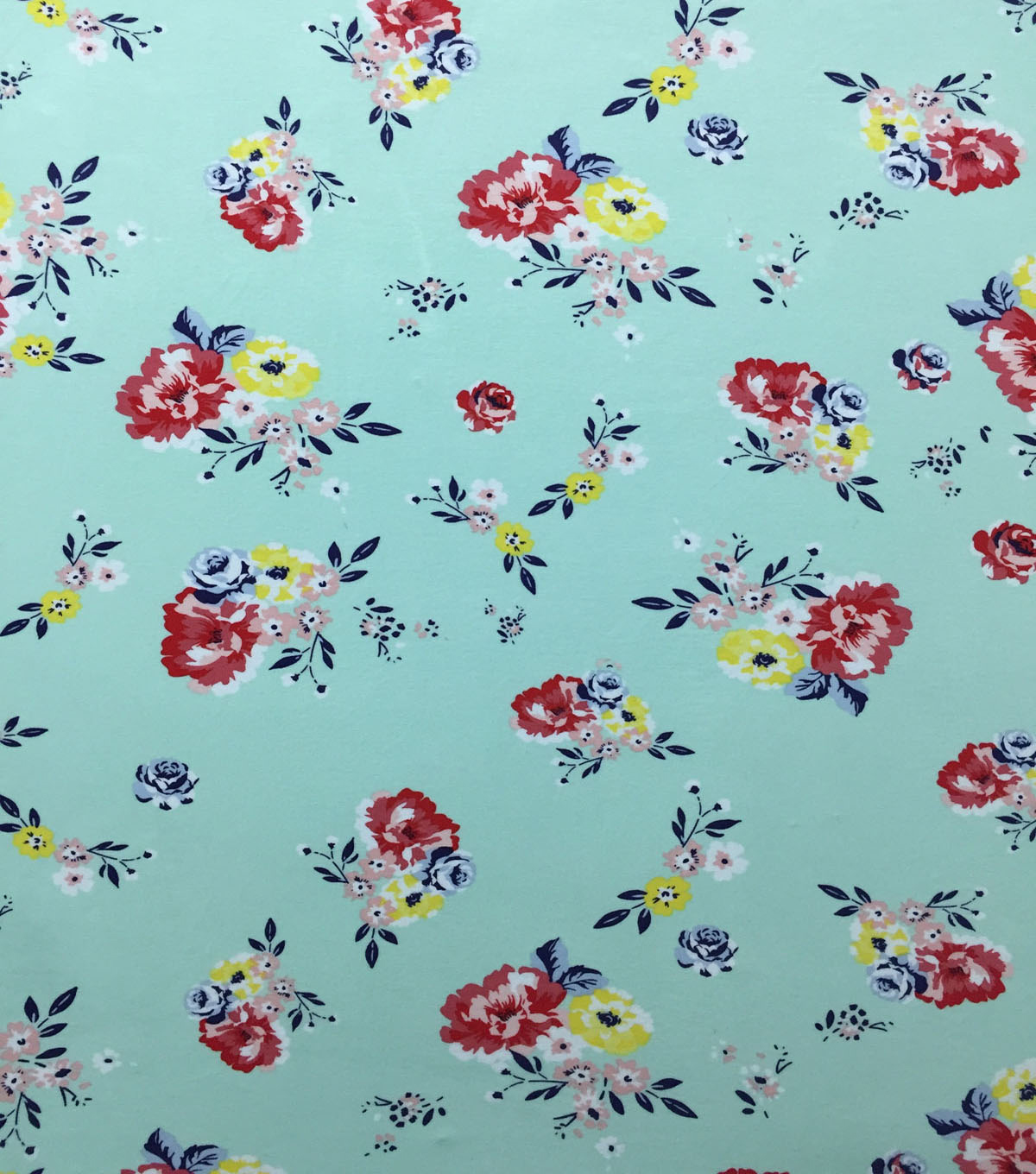 Rayon & Spandex Printed Knit Fabric-Vintage Floral on Mint