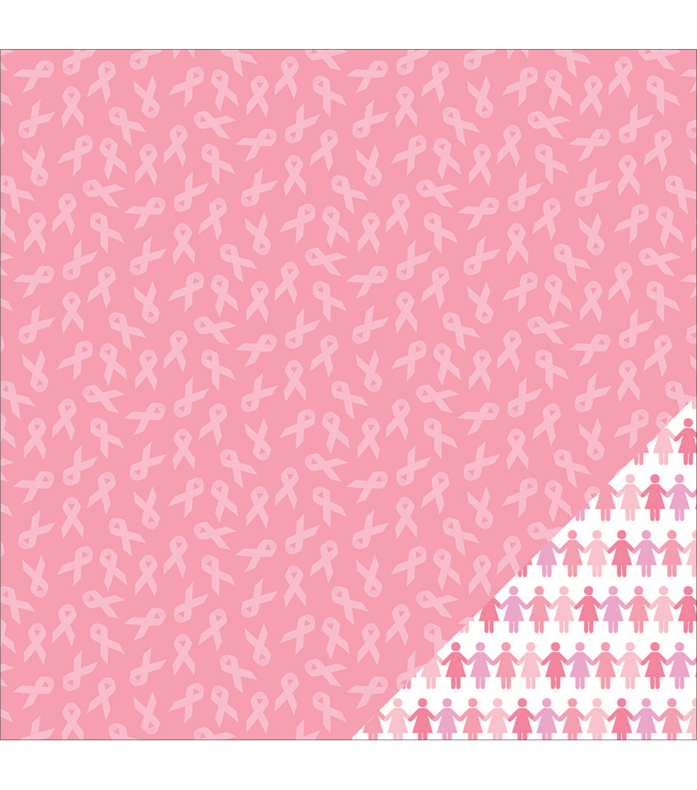 American Crafts Printed Breast Cancer Awareness Ribbon Cardstock