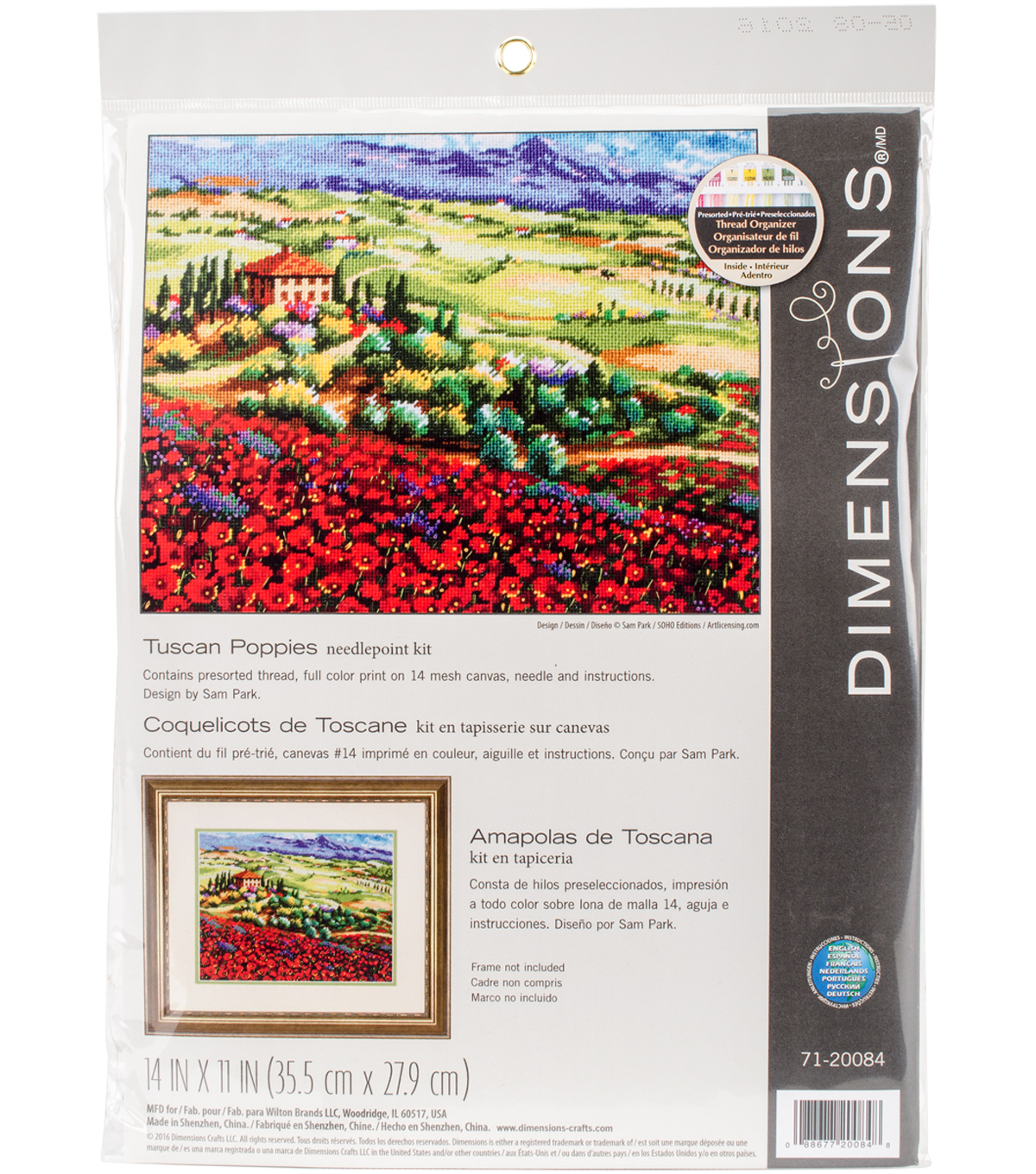 Tuscan Poppies Needlepoint Kit 14\u0022X11\u0022 Stitched In Thread