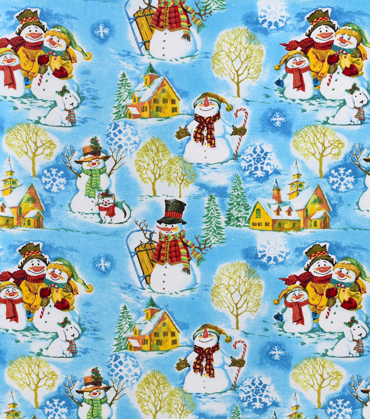 Snuggle Flannel Fabric-Snowman Family