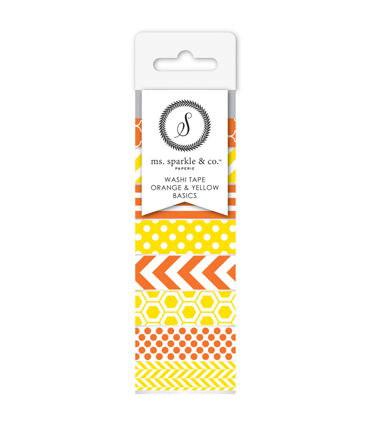 Ms. Sparkle & Co. 8 pk Washi Tapes 0.6 mmx10 yds-Orange & Yellow Basics