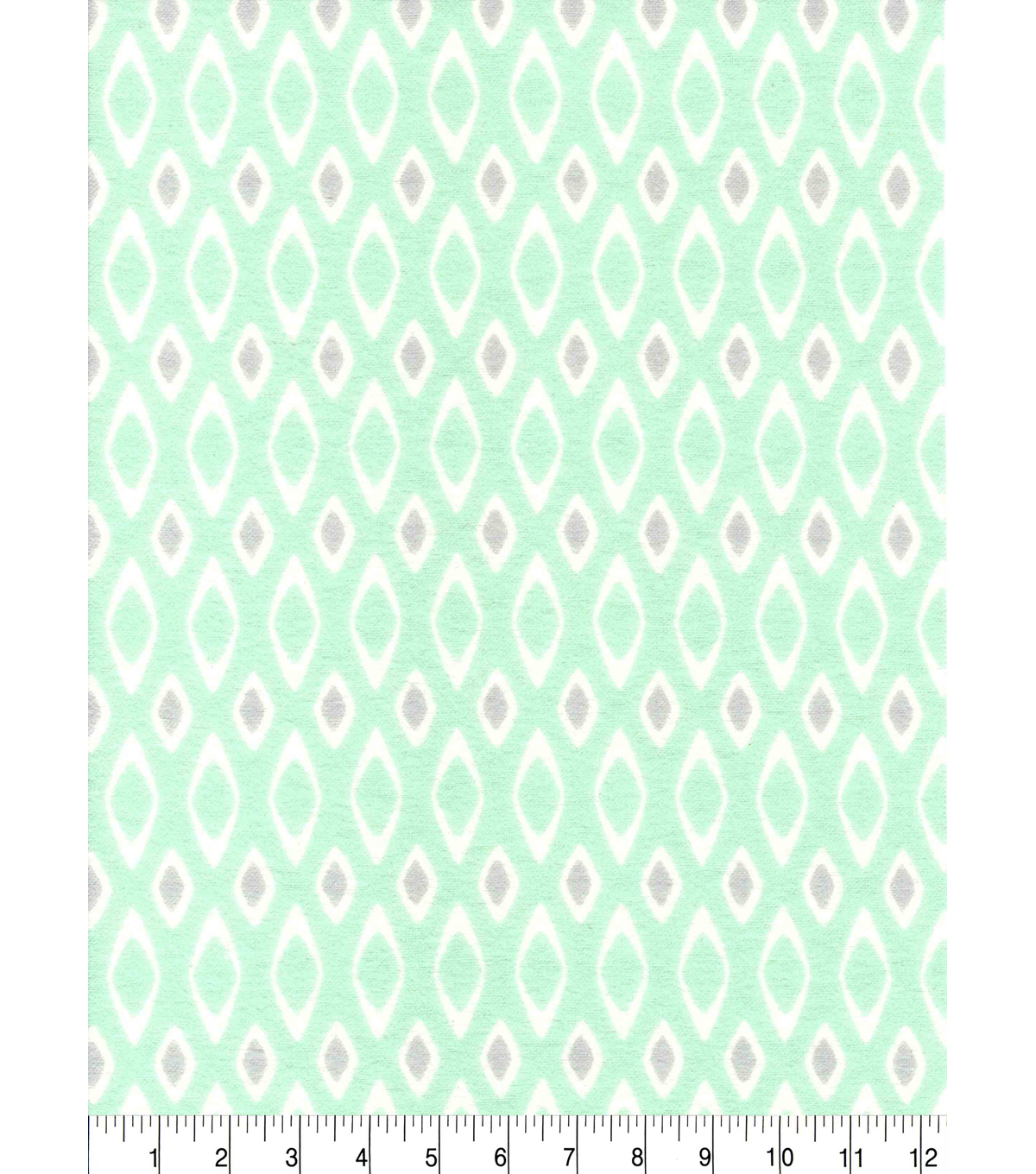 Snuggle Flannel Fabric 42\u0027\u0027-Geometric Print on Mint