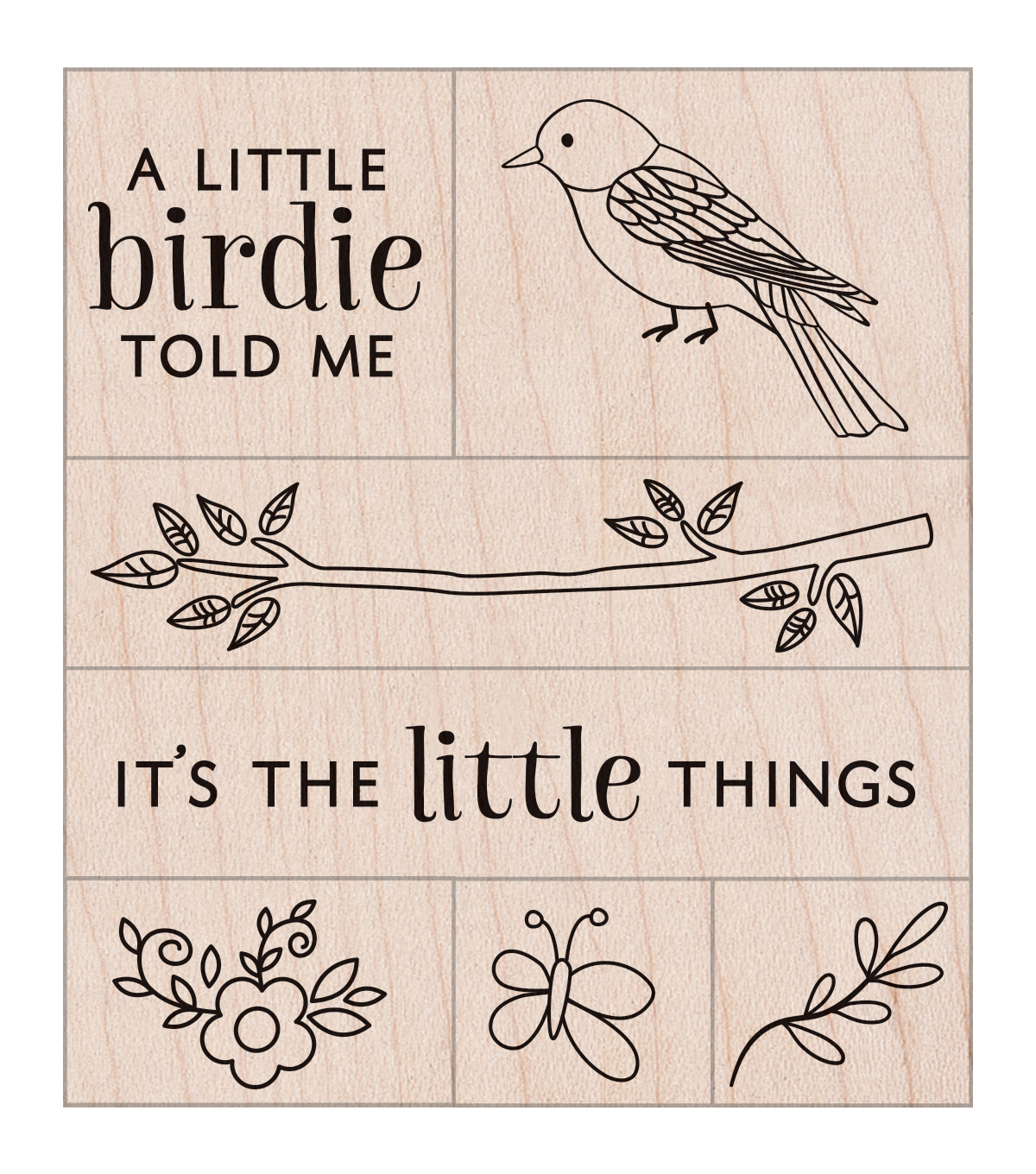 Hero Arts Wood Mounted Rubber Stamp Set-Little Birdie