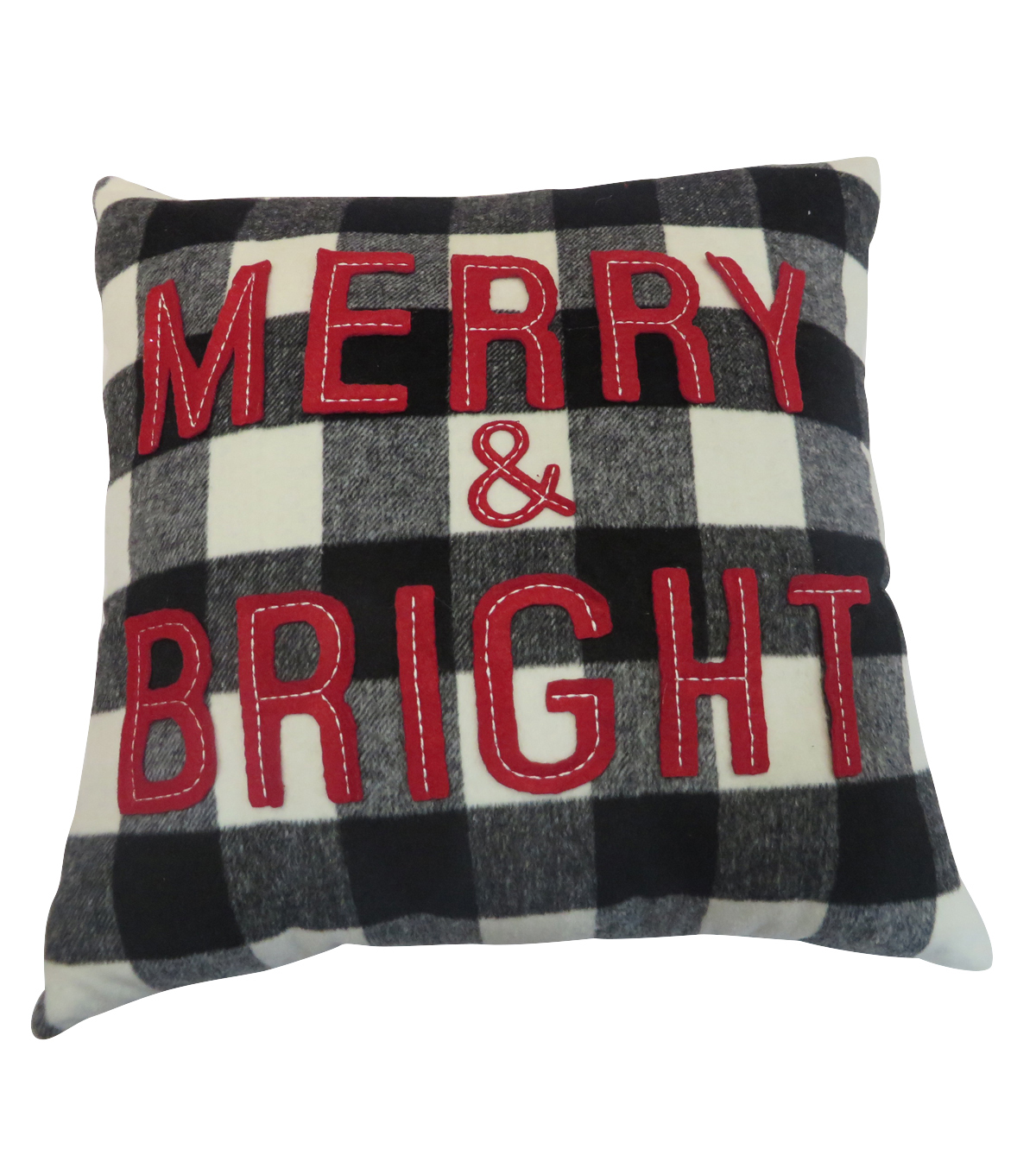 Maker\u0027s Holiday Christmas Buffalo Check Pillow-Merry & Bright