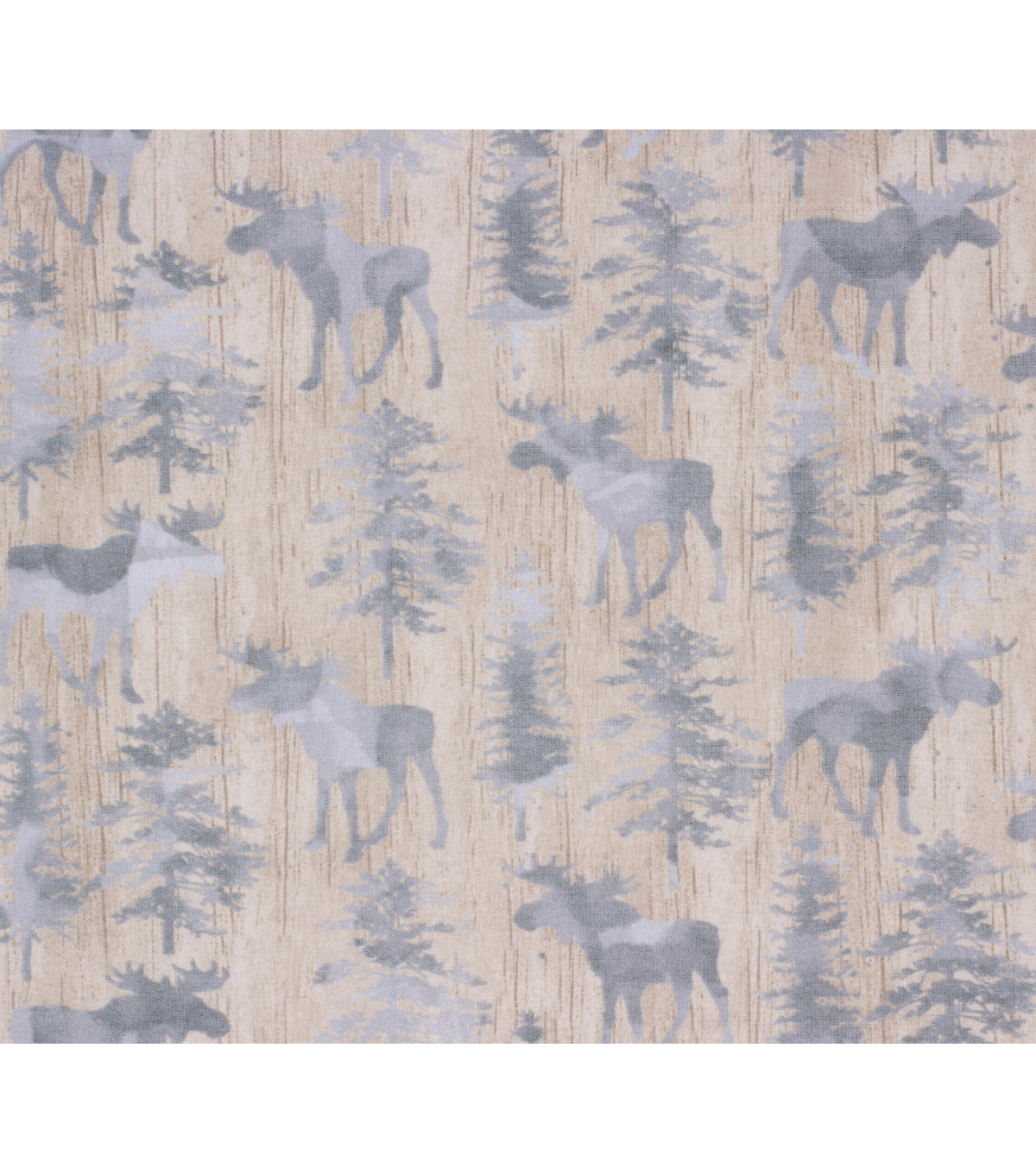 Super Snuggle Flannel Fabric-Textured Moose on Wood