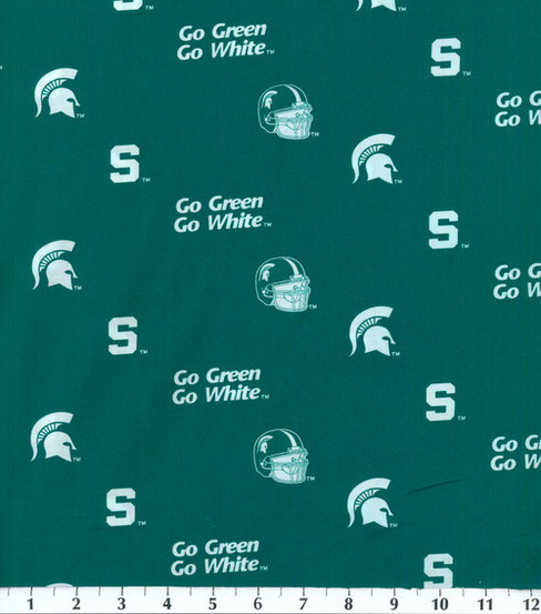 Michigan State University Spartans Cotton Fabric 43\u0022-Herringbone