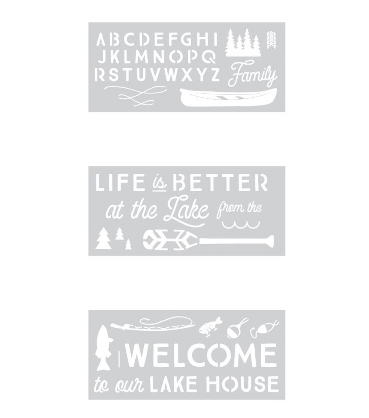 Camp Ann 10\u0022x22\u0022 Stencil Pack 3/Pkg-Lake