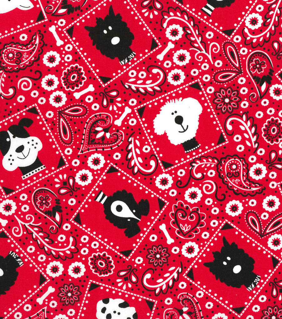 Novelty Cotton Fabric -Dog B&ana Red