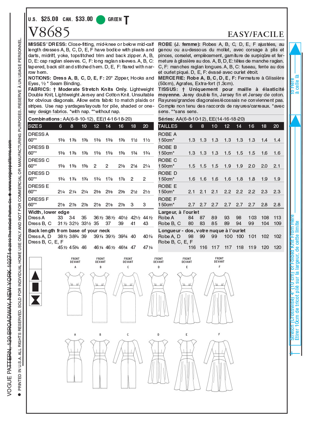 Vogue Patterns Misses Dress-V8685