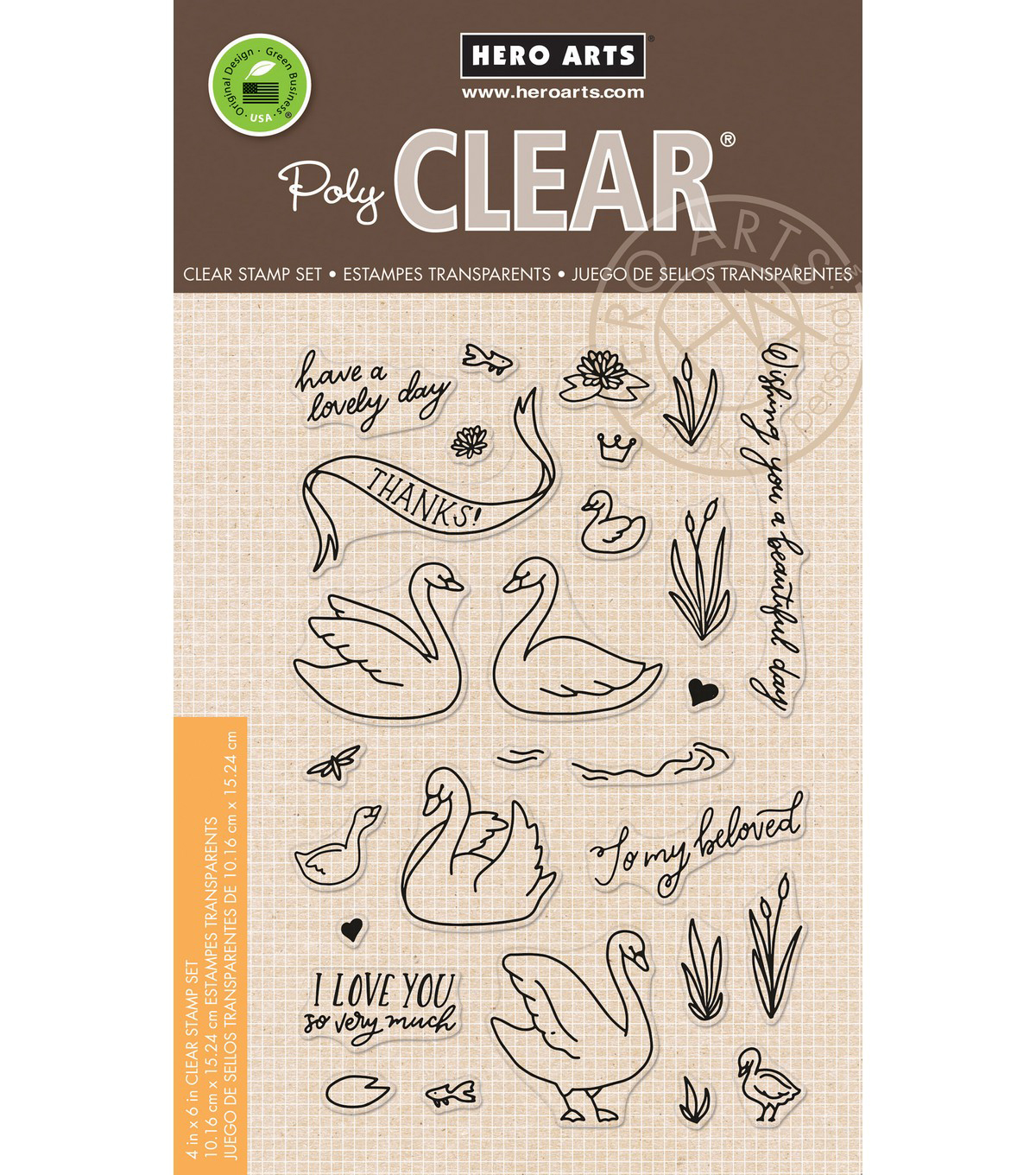 Hero Arts 18 pk Clear Stamps-Swans & Cattails