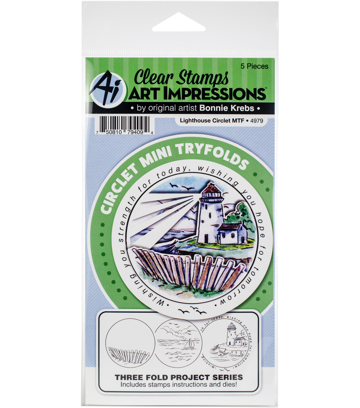 Art Impressions Circlet Mini TryFolds Stamp & Die Set-Lighthouse